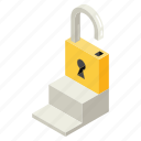 and, business, education, fee, isometric, key to success, lock, money icon