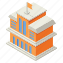 and, business, education, fee, isometric, money, school building icon