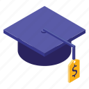 and, business, education, fee, graduation cap, isometric, money icon