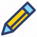 pencil, line, education, filled icon