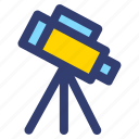 education, filled, line, telescope icon