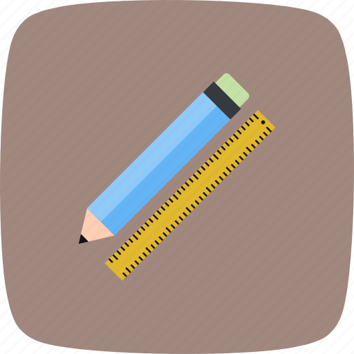 education, pencil, pencil and ruler, ruler icon
