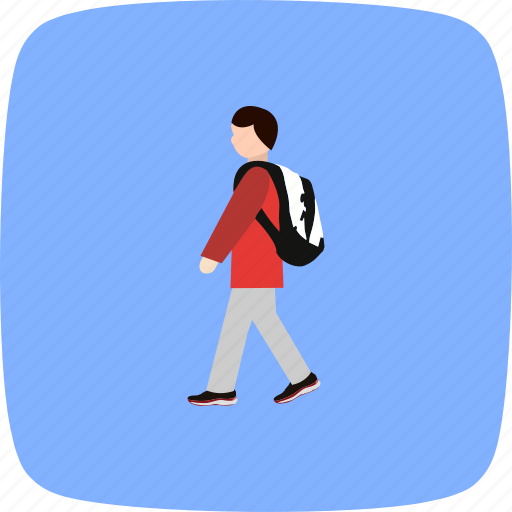 education, school, student, walking to school icon