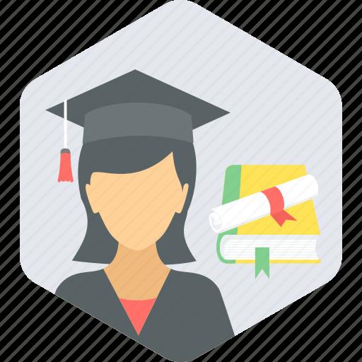girl, graduate, graduation, student icon