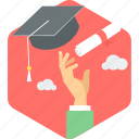 certificate, degree, diploma, education, graduate, graduation, hat icon