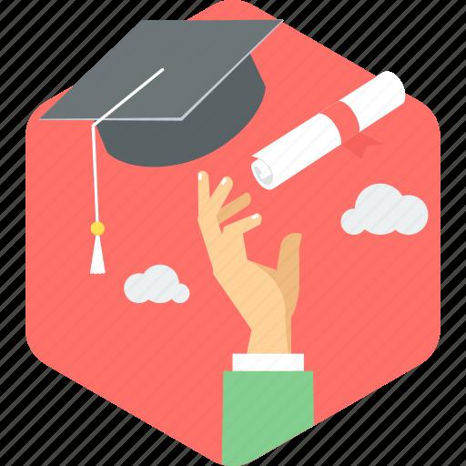 certificate, degree, diploma, education, graduate, graduation, hat icon