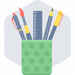 box, geometry, pen, pen stand, pencil, pencil stand icon