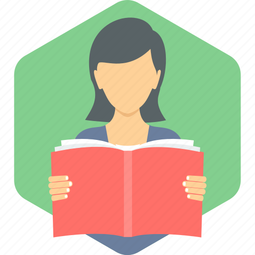 education, girl, learning, reading, study, studying icon