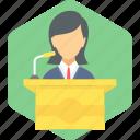 speech, communication, girl, message, podium, student