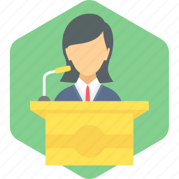 communication, girl, message, podium, speech, student icon