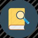 explore, book, search icon, research icon