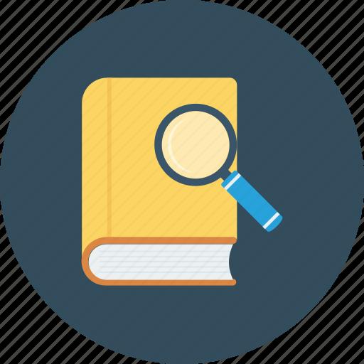 book, explore, research, search icon icon