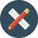 geometry, maths, ruler and pencil, sketching icon, • drafting
