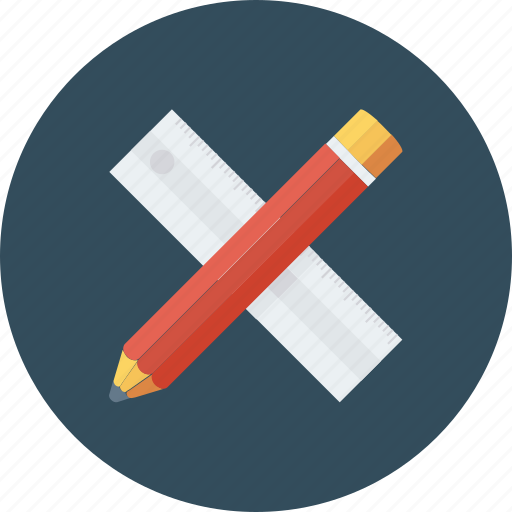 geometry, maths, ruler and pencil, sketching icon, • drafting icon