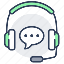 audio, distant, earphones, lesson, support, tecnical icon