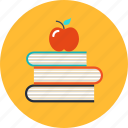 apple, book, education, knowledge, learning, school
