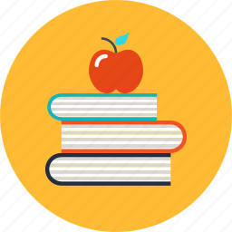 apple, book, education, knowledge, learning, school icon