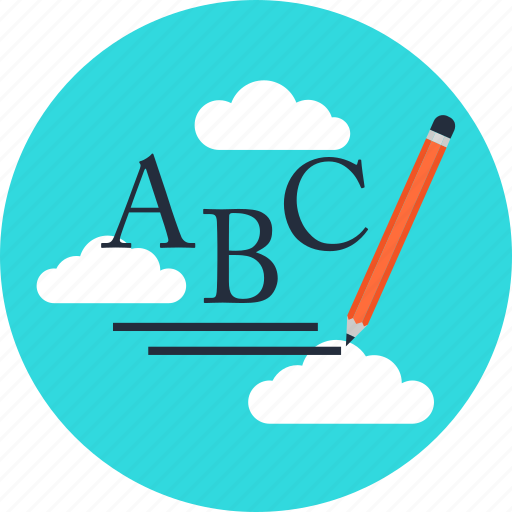 clouds, education, learning, letter, pencil, writing icon