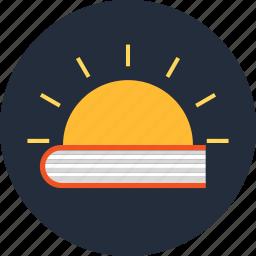 book, education, knowledge, light, sun icon