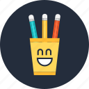cup, cute, funny, pencil, smile icon