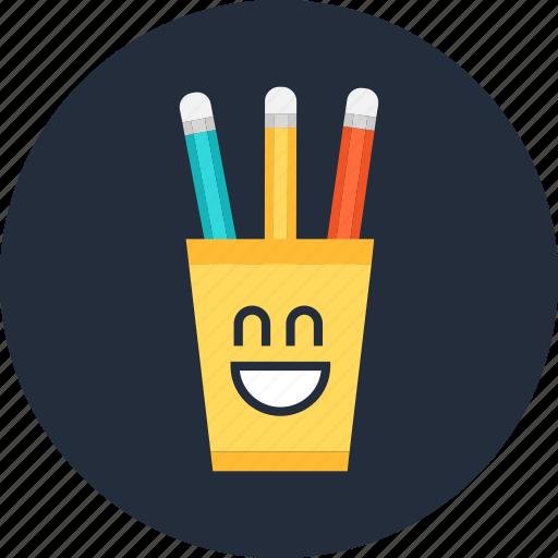 cup, cute, funny, pencil, smile icon