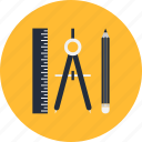 compass, pencil, ruller