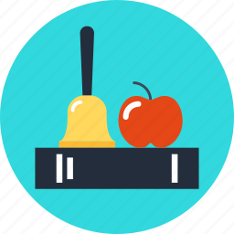 apple, bell, book, education, knowledge icon