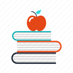 apple, books, education, knowledge, learning, school, science icon