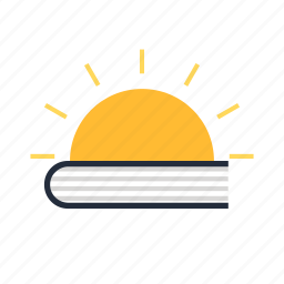 book, education, knowledge, learning, light, school, sun icon