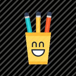 box, cup, cute, pen, pencil, school, smile icon