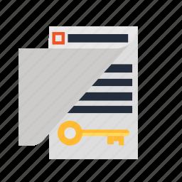 document, education, file, key, keyword, school, solution icon