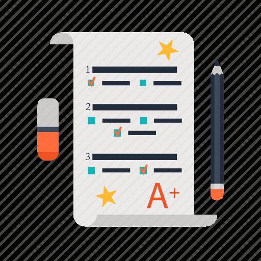 a, education, mark, pencil, rubber, school, test icon