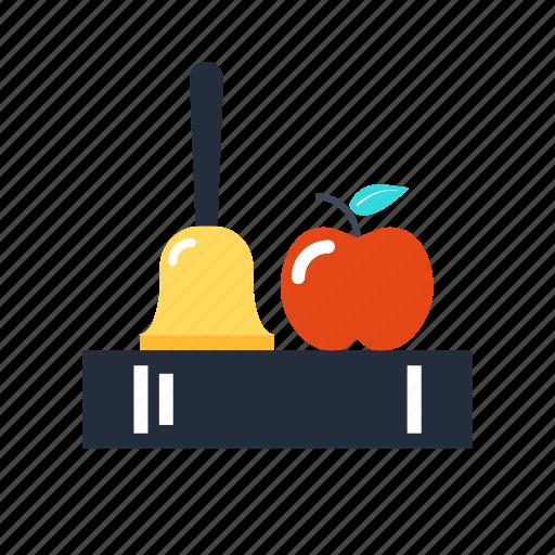 apple, bell, book, break, education, knowledge, school icon