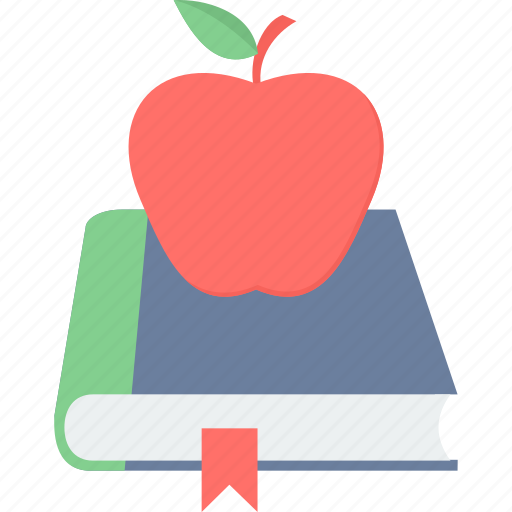 apple, book, bookmark, education, learning icon