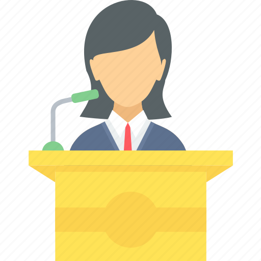 communication, lecture, message, podium, speech icon