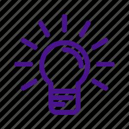 bright, bulb, education, idea, lamp, school, science icon
