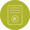 a+, grade, result card icon