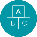 abc cubes, alphabets, blocks icon