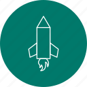 pencil rocket, rocket, science, start icon