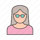 female, scientist, teacher icon