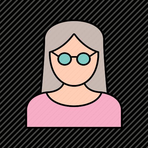 female, scientist, teacher icon