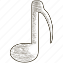 eighth, music, note, song icon
