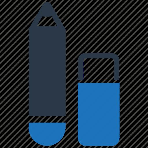 eraser, pencil, stationery icon