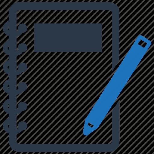 diary, notebook, notepad, pen icon