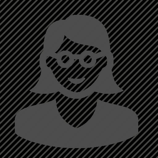 avatar, girl, glasses, student, teacher, user, woman icon