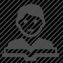avatar, book, boy, education, reading, student, textbook icon