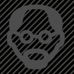 avatar, bald, goatee, head, man, old, user icon