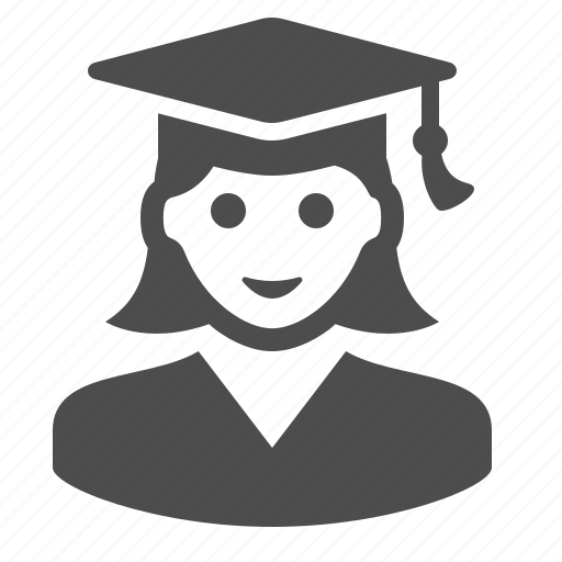 education, girl, graduation cap, graduation hat, student icon