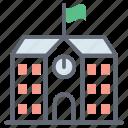 building front, condominium, educational building, educational university, university infrastructure icon