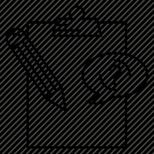 bubble, clipboard, document, edit, pencil icon